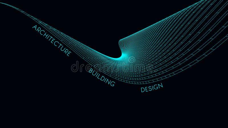 Tarjeta de visita elegante para un arquitecto ejemplo abstracto del vector ilustración del vector