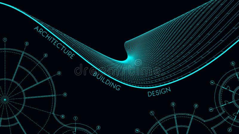 Tarjeta de visita elegante para un arquitecto ejemplo abstracto del vector stock de ilustración