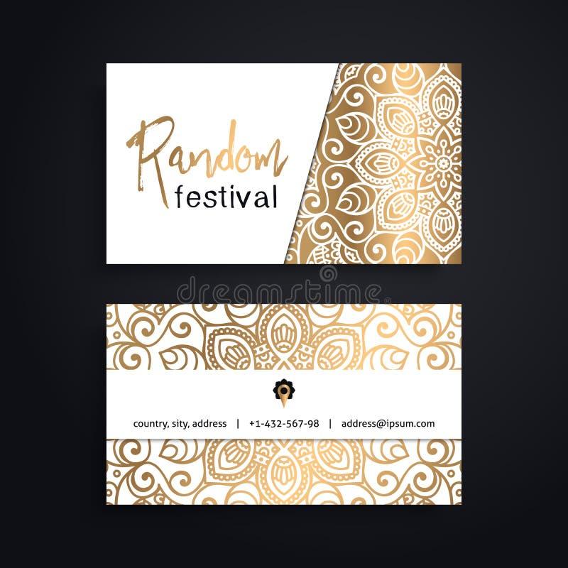 Tarjeta de visita Elementos decorativos de la vendimia Tarjetas o invitación florales ornamentales de visita con la mandala libre illustration