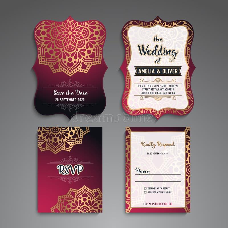Tarjeta de visita Elementos decorativos de la vendimia Tarjetas o invitación florales ornamentales de visita con la mandala ilustración del vector