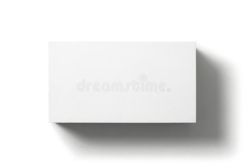 Tarjeta de visita en blanco aislada en el fondo blanco Visi?n superior fotografía de archivo libre de regalías