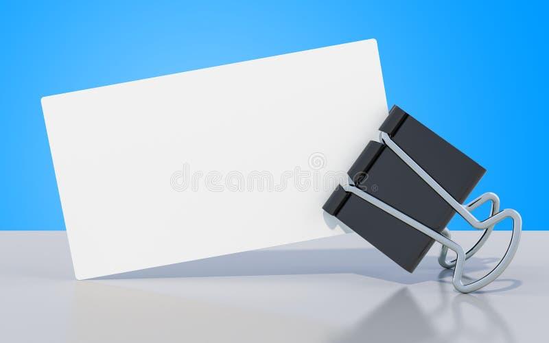 Tarjeta de visita en blanco con el clip en la tabla, de la carpeta representación 3D libre illustration