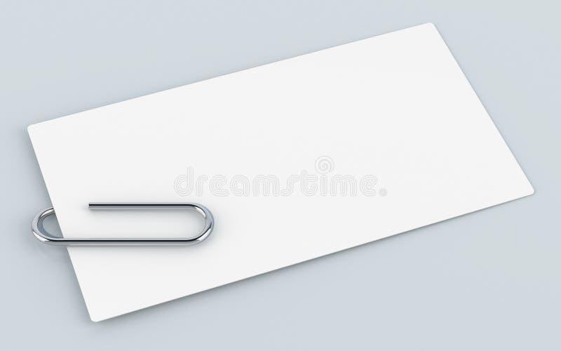 Tarjeta de visita en blanco con el clip en la tabla, de papel del metal representaci?n 3D stock de ilustración