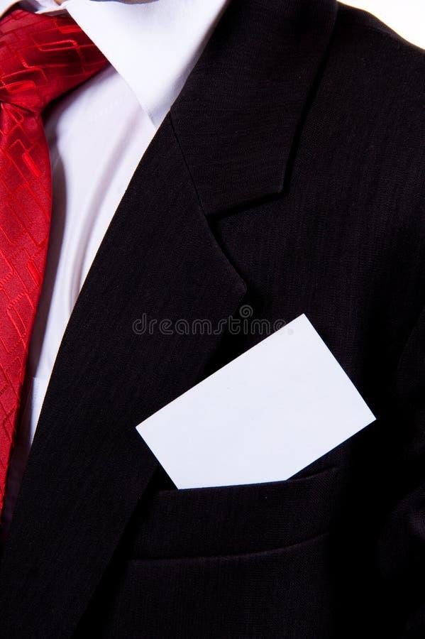 Tarjeta de visita en blanco en bolsillo imagen de archivo libre de regalías