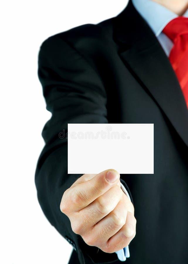 Tarjeta de visita en blanco en una mano imágenes de archivo libres de regalías