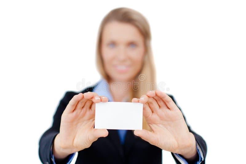 Tarjeta de visita en blanco en una mano fotografía de archivo