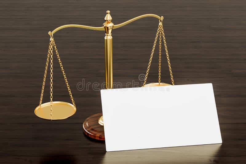 Tarjeta de visita en blanco para el abogado, el bufete de abogados o el notario en el fondo de madera del escritorio representaci ilustración del vector
