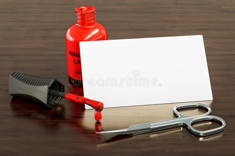 Tarjeta de visita en blanco para la manicura, salón del clavo en el fondo de madera del escritorio representación 3d stock de ilustración