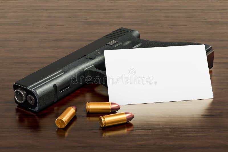 Tarjeta de visita en blanco para la tienda de armas o la tienda del arma de fuego en el fondo de madera del escritorio representa ilustración del vector