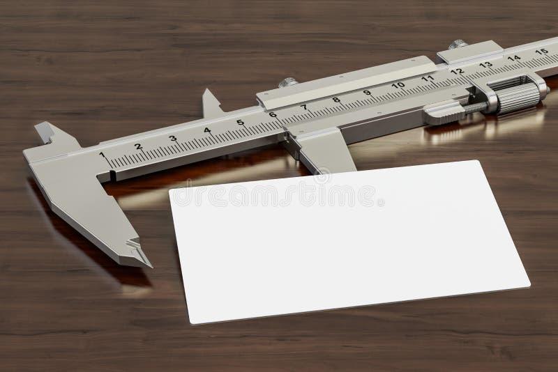 Tarjeta de visita en blanco para los ingenieros o los constructores, constructores en el fondo de madera del escritorio represent ilustración del vector