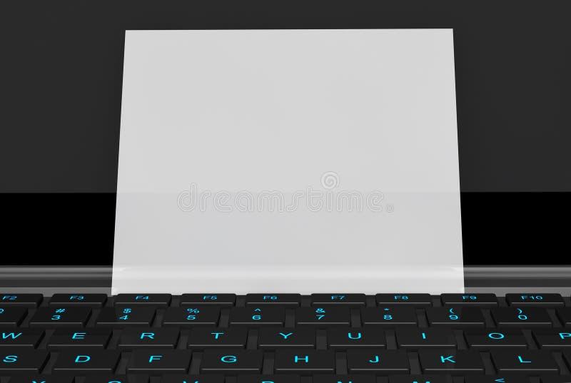 Tarjeta de visita en blanco sobre el teclado del ordenador portátil stock de ilustración