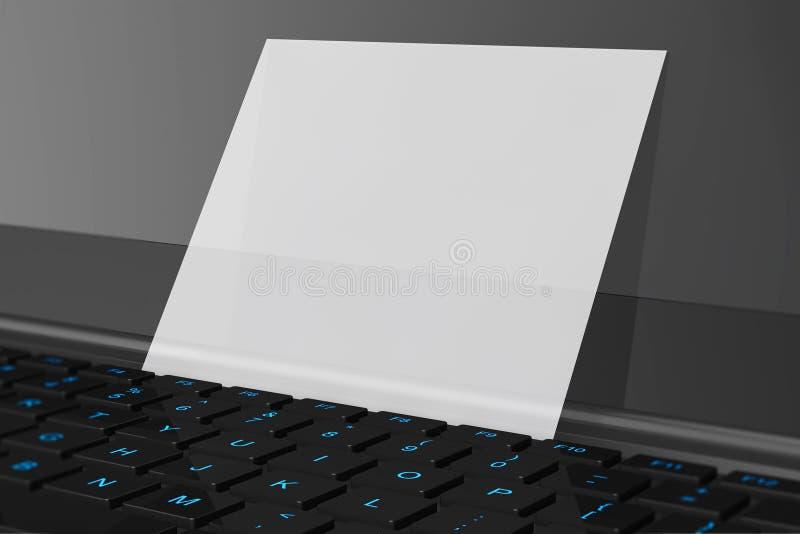 Tarjeta de visita en blanco sobre el teclado del ordenador portátil ilustración del vector