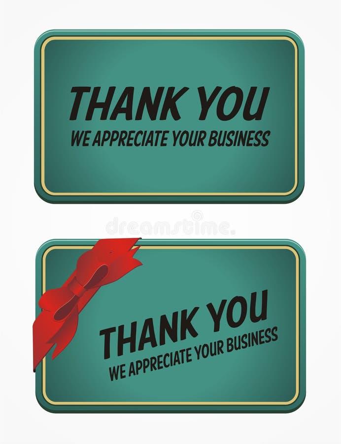 Tarjeta de visita - gracias por su negocio stock de ilustración