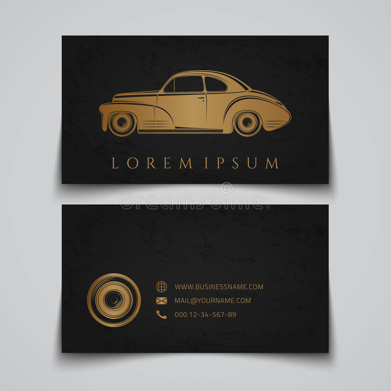 Tarjeta de visita Logotipo clásico del coche ilustración del vector