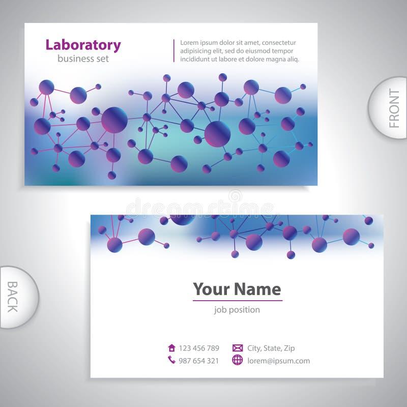 Tarjeta de visita médica violeta-azul universal. ilustración del vector