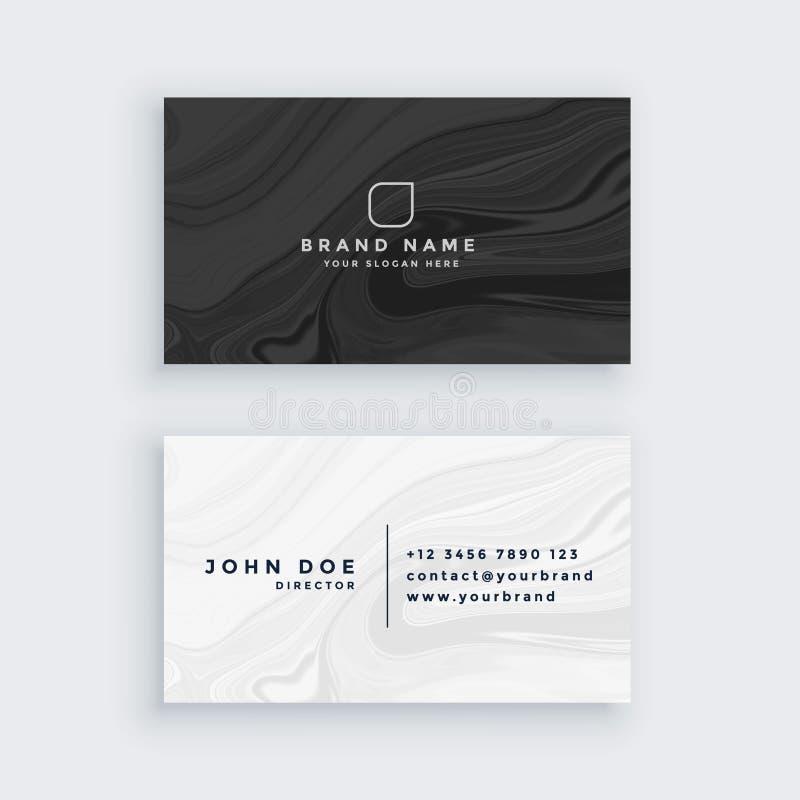 Tarjeta de visita moderna blanco y negro con la textura de mármol ilustración del vector