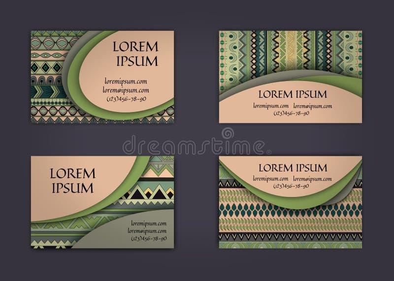 tarjeta de visita o plantilla de la tarjeta de visita con el fondo del modelo del estilo del boho Diseño de la identidad corporat ilustración del vector