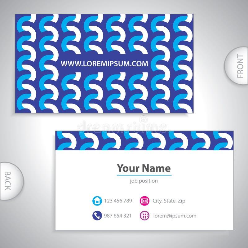 Tarjeta de visita ondulada azul. stock de ilustración