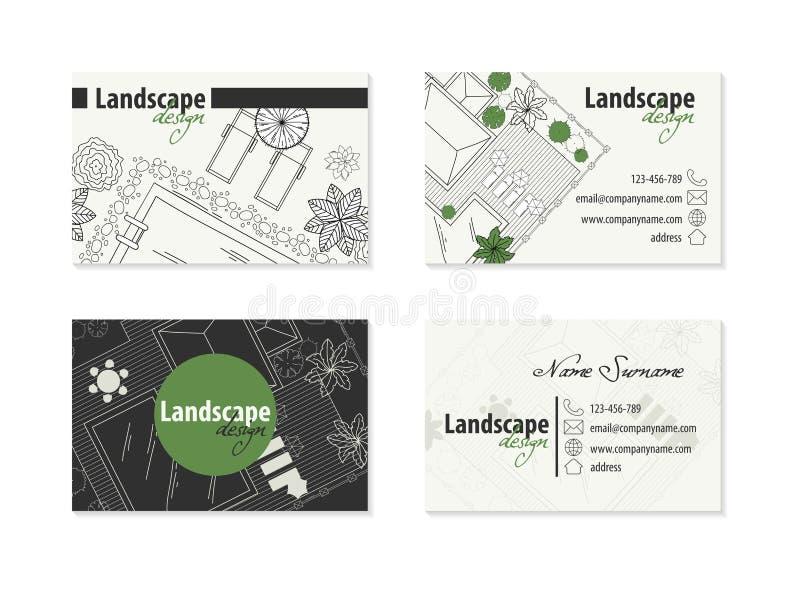 Tarjeta de visita para el diseñador del paisaje ilustración del vector