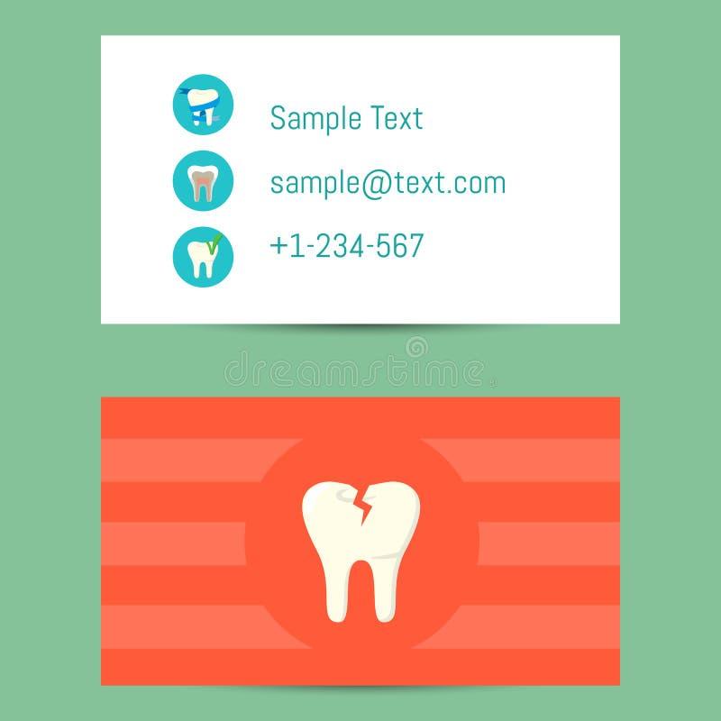 Tarjeta de visita profesional para los dentistas stock de ilustración