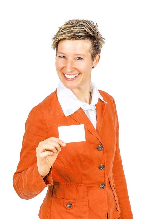 Tarjeta de visita sonriente de las mujeres imagen de archivo libre de regalías
