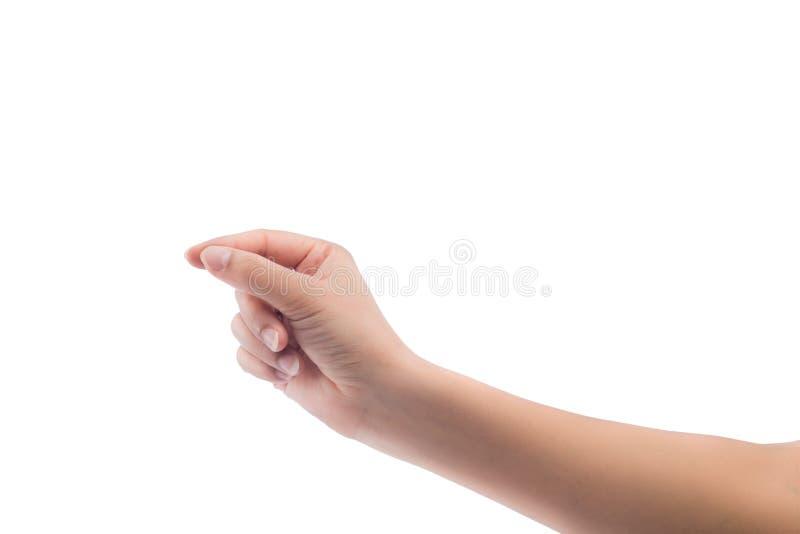 Tarjeta de visita virtual del control de la mano de la mujer, tarjeta de crédito o pape en blanco imagen de archivo libre de regalías