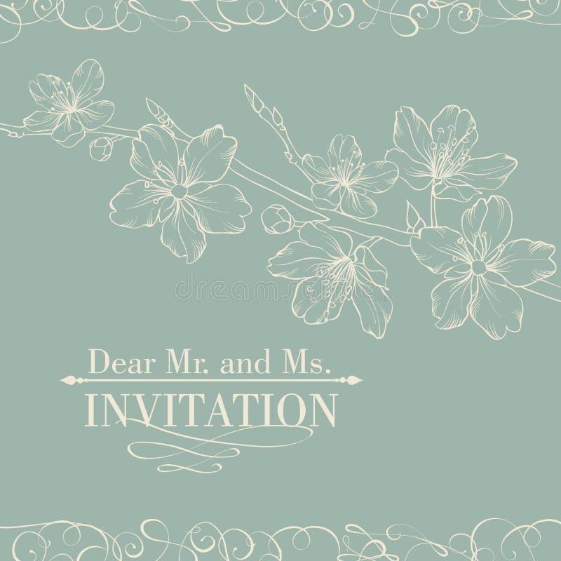 Tarjeta decorativa de la invitación del vintage con Sakura stock de ilustración