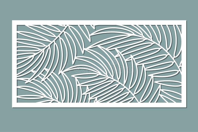 Tarjeta decorativa para cortar Modelo de hoja de palma Corte del laser stock de ilustración