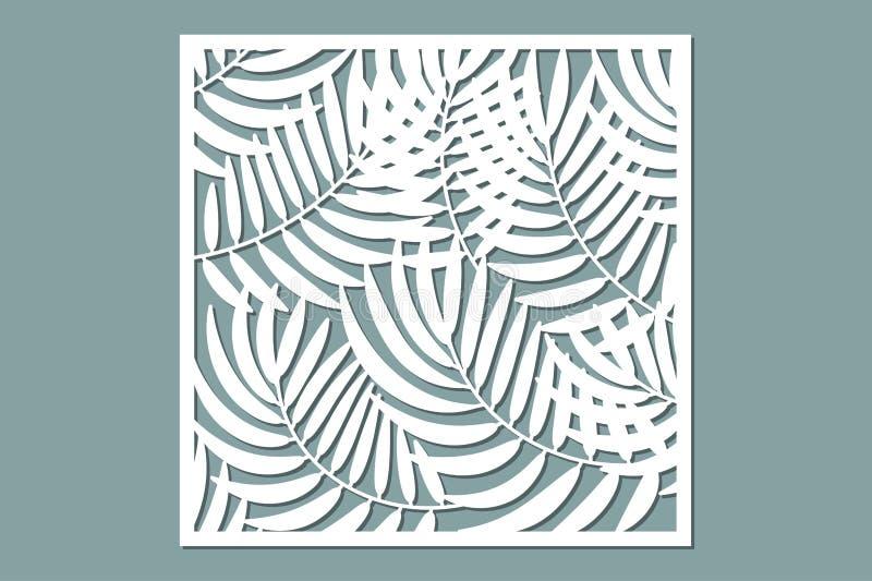 Tarjeta decorativa para cortar Modelo de hoja de palma Corte del laser ilustración del vector