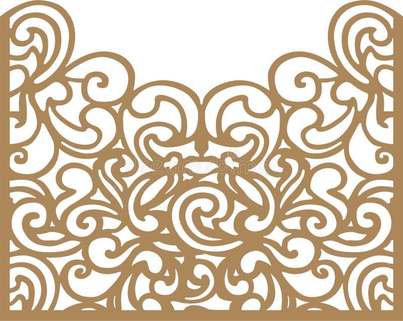 Tarjeta decorativa Plantilla de corte del laser stock de ilustración