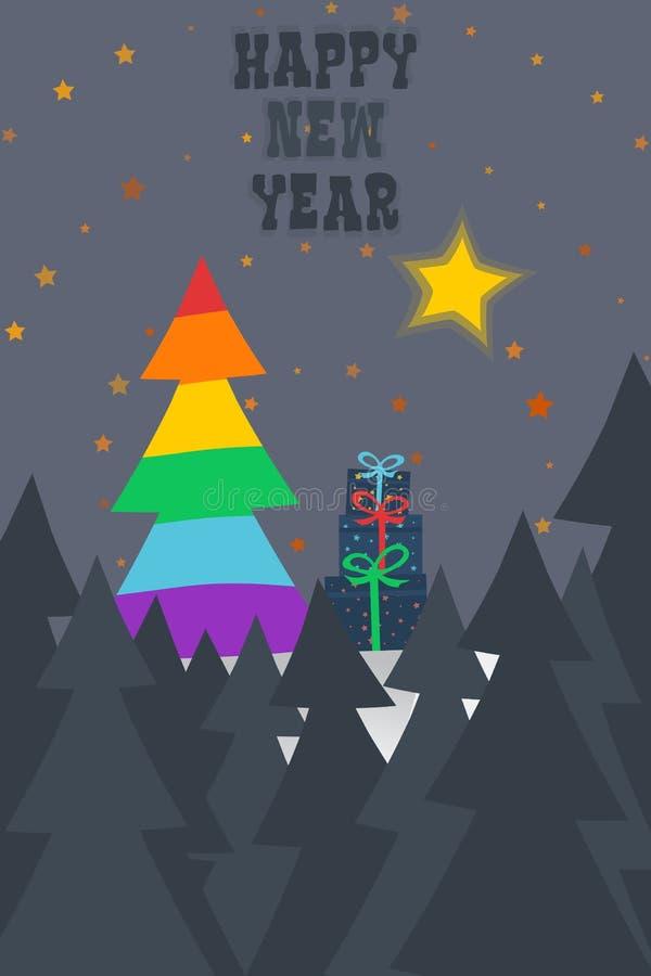 Tarjeta del árbol de la Navidad de la bandera del orgullo gay/del Año Nuevo libre illustration