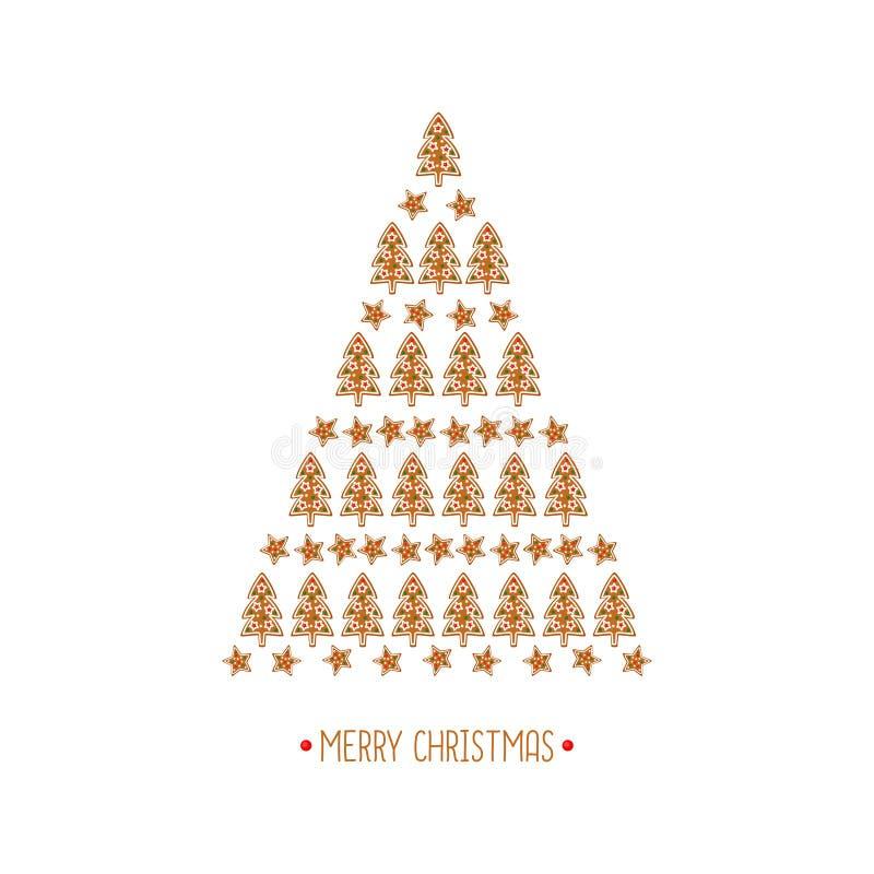 Tarjeta del árbol de navidad Colección de las galletas de Navidad - galletas del pan de jengibre en el fondo blanco - árbol y est libre illustration