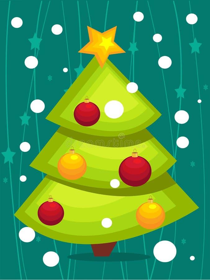 Tarjeta del árbol de navidad de la historieta ilustración del vector