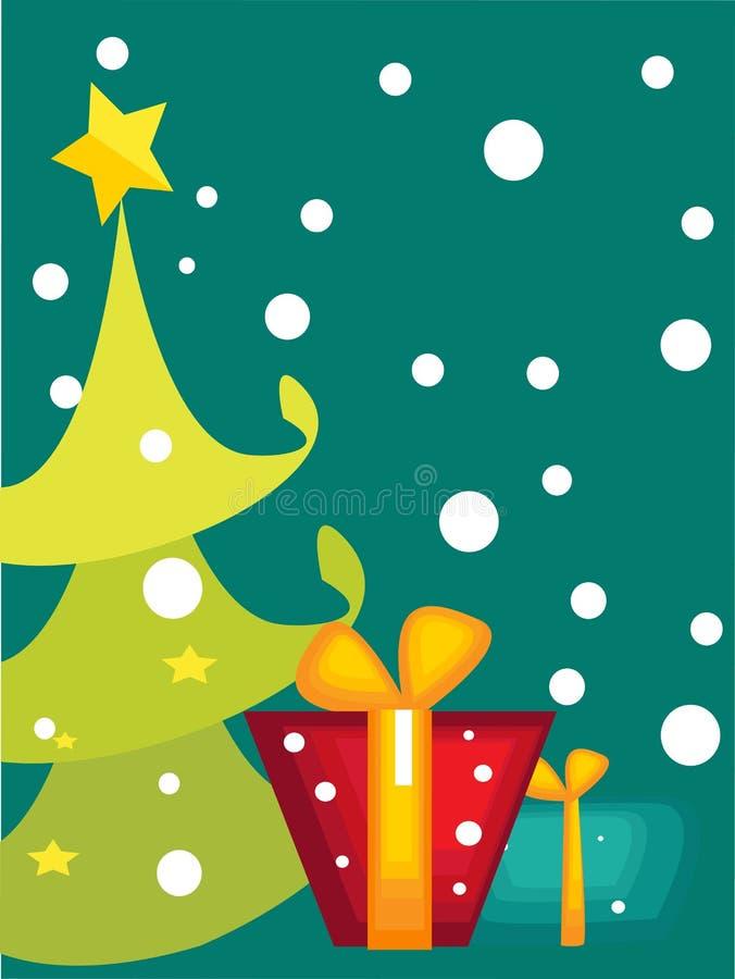Tarjeta del árbol de navidad de la historieta libre illustration
