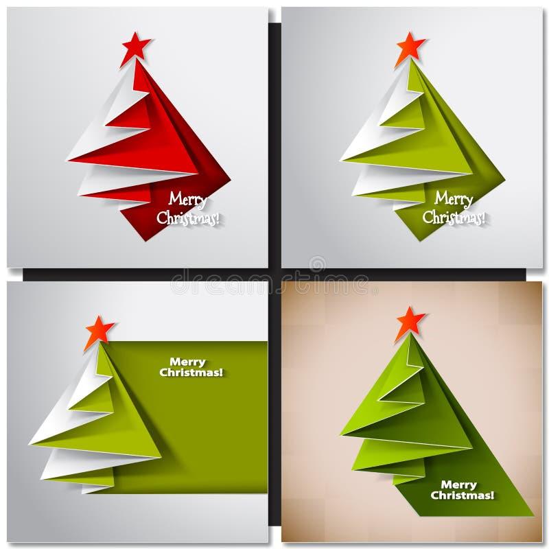 Tarjeta del árbol de navidad Papiroflexia del vector libre illustration