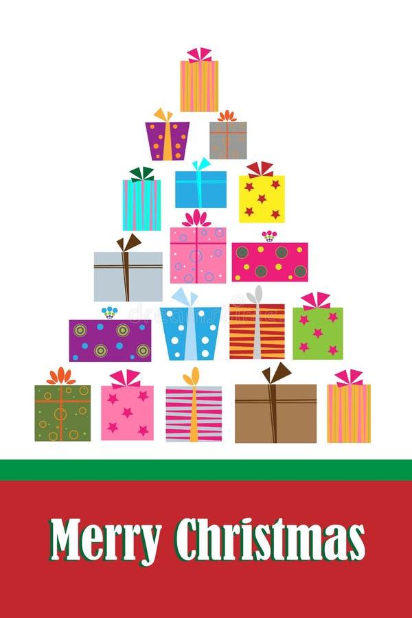 Tarjeta del árbol del regalo de la Navidad ilustración del vector