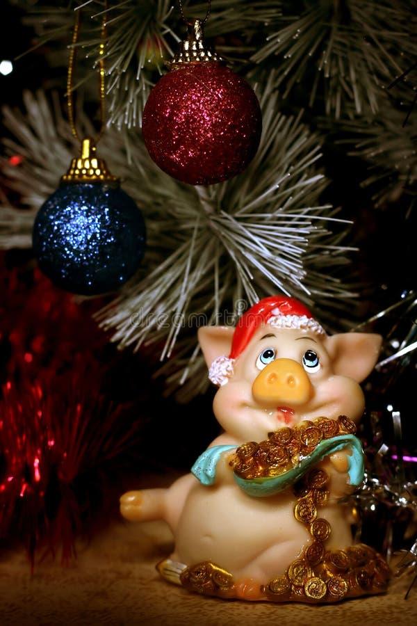 Tarjeta del Año Nuevo con el cerdo imágenes de archivo libres de regalías