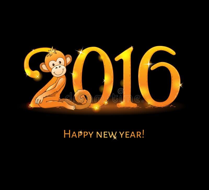 Tarjeta del Año Nuevo con el mono libre illustration