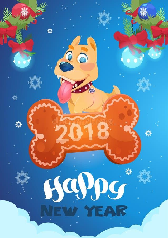 Tarjeta del Año Nuevo con el perro lindo que se coloca en el símbolo chino del hueso de 2018 stock de ilustración