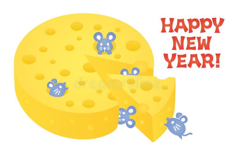Tarjeta del Año Nuevo con el ratón y el queso ilustración del vector