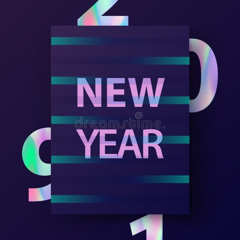 Tarjeta del Año Nuevo con el texto olográfico 2019 libre illustration