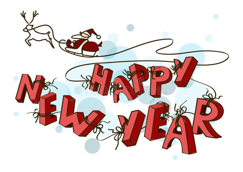 Tarjeta del Año Nuevo con el trineo de Santas stock de ilustración