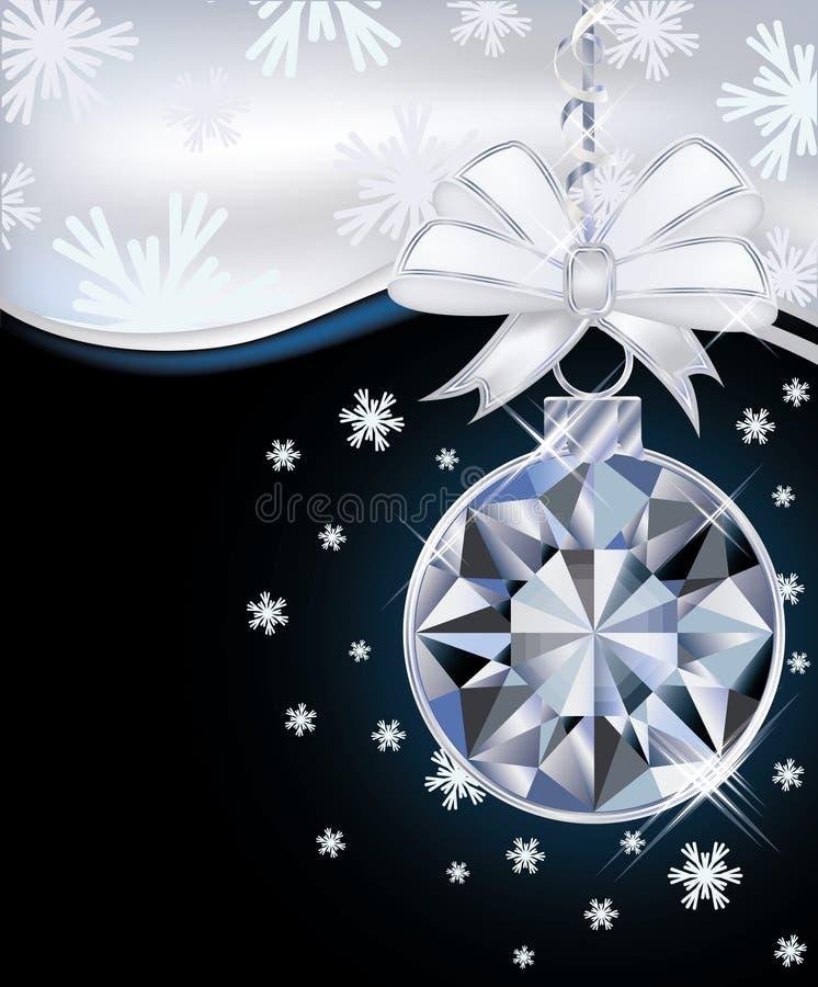 Tarjeta del Año Nuevo con la bola de la Navidad del diamante stock de ilustración