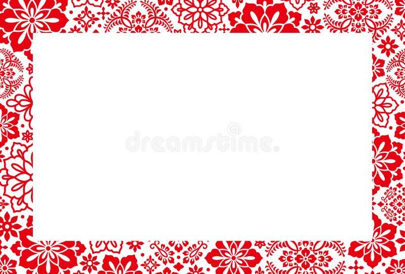 Tarjeta del Año Nuevo con la flor china ilustración del vector