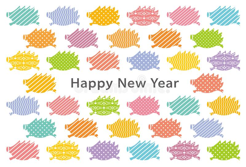 Tarjeta del Año Nuevo con los jabalís ilustración del vector
