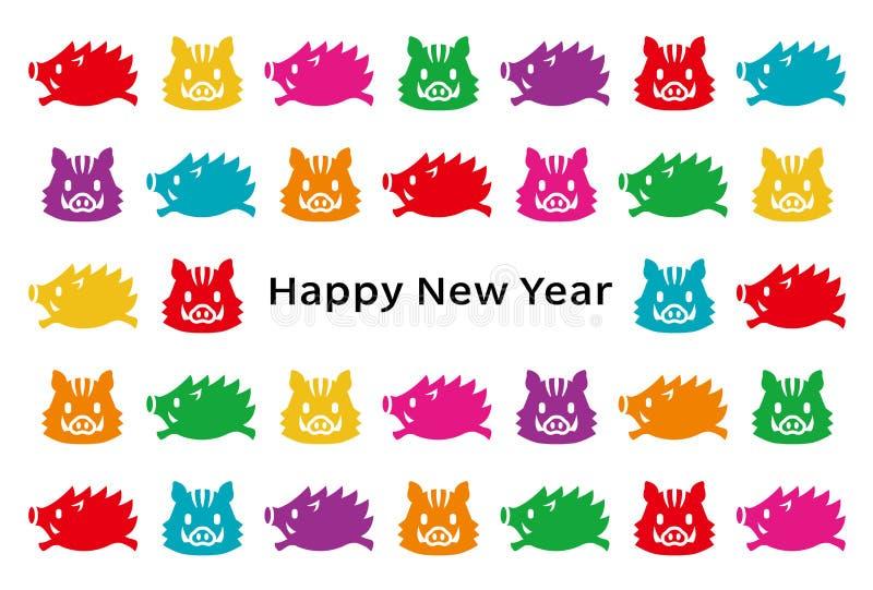 Tarjeta del Año Nuevo con los jabalís stock de ilustración