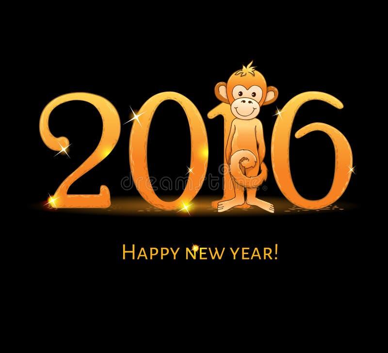 Tarjeta del Año Nuevo con monkey4 stock de ilustración