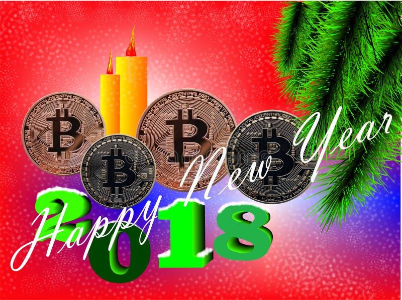 Tarjeta del Año Nuevo de Bitcoin ilustración del vector