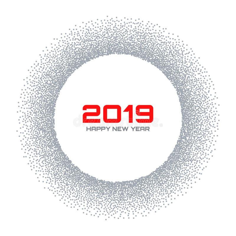 Tarjeta del Año Nuevo 2019 Marco del círculo de la escama de la nieve El gris de semitono puntea el fondo La Navidad redonda Ilus libre illustration