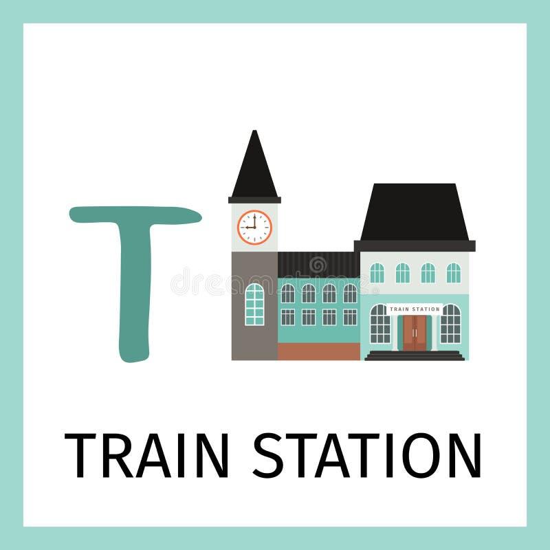 Tarjeta del alfabeto con el edificio de la estación de tren ilustración del vector